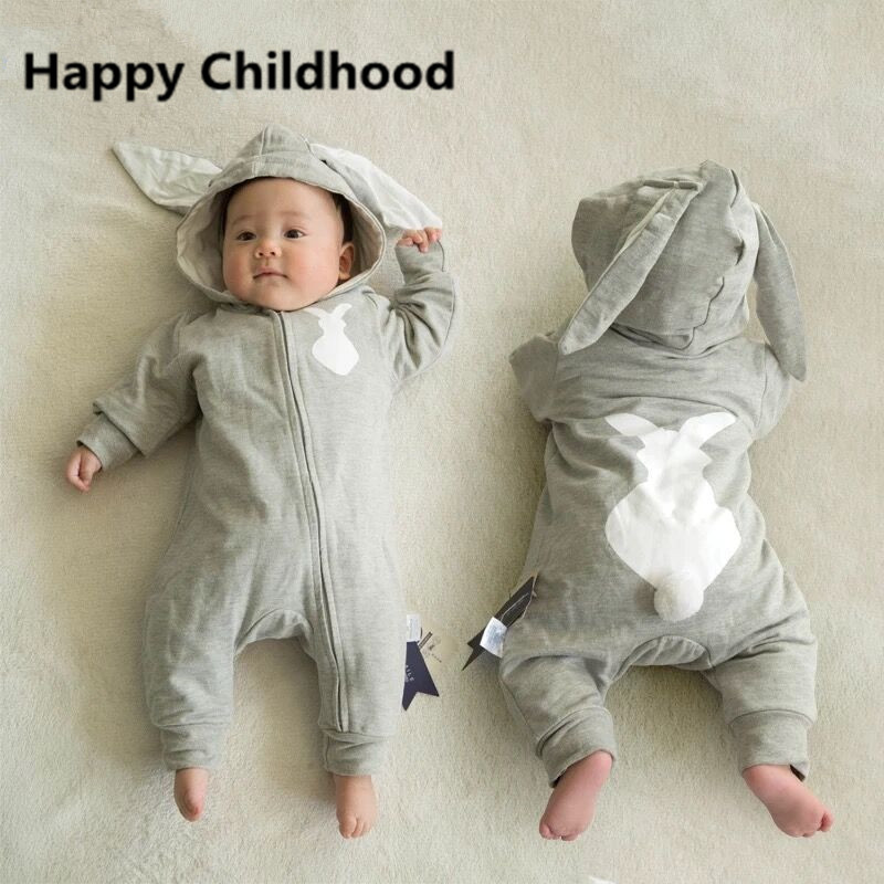2017 New Spring Bunny Baby Rompers 1pc hooded baby clothes animal baby costume rabbit baby jumpsuit with tail overalls for child виниловые обои limonta sonetto 71601