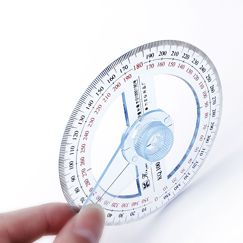 NEW Plastic 360 Degree Protractor Ruler Angle Finder Swing Arm School Office W15