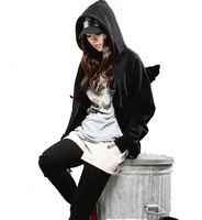 New Women Sweatshirt Autumn Winter Lovely Angel Wings Women Hoodies Zipper Hoodie With Hood Casual Fleece