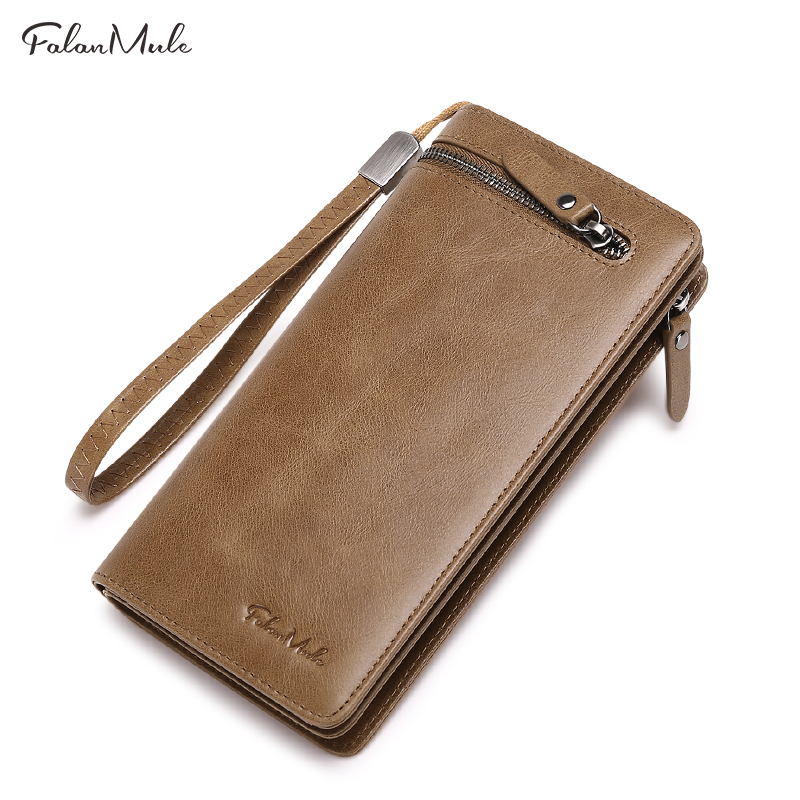 FALAN MULE vintage men wallets genuine leather long zipper clutch purse fashion brand male phone wallet banlosen brand men wallets double zipper vintage genuine leather clutch wallets male purses large capacity men s wallet