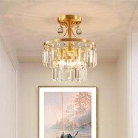 Полный медь потолочный светильник K9 Творческие Теплый крыльцо свет столовая огни зал Личность Круглый балкон потолочные светильники LU8231738