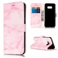 Fashion Pink Granite Marble Printed PU Leather Wallet Stand Flip Card Slot Phone Bag Cases
