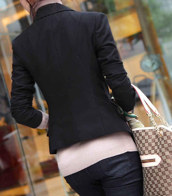 Ukuran XXXL Formal Blazer Wanita Setelan Bisnis Satu Pendek Hitam Jaket Satu Tombol Lengan Panjang OL Balzers