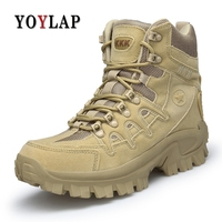YOYLAP Men Military Tactical Boots Desert Combat Outdoor boots Army Hiking Travel Botas Leather Autumn Ankle Boots