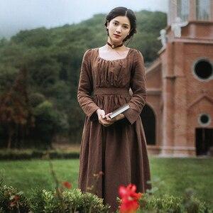 Женское длинное платье с высокой талией, винтажное платье с длинным рукавом и высокой талией