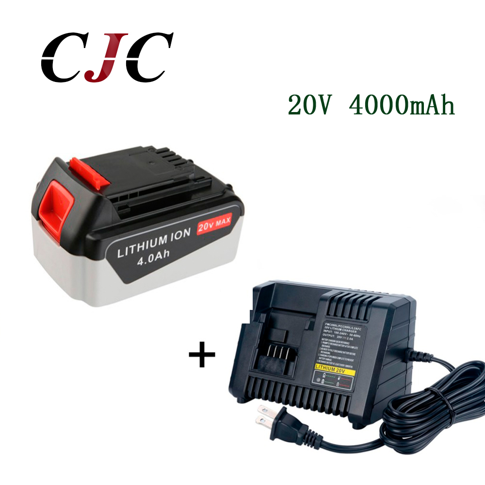 20V Li-ion 4000mAh Rechargeable Power Tool Replacement Battery for BLACK & DECKER LB20 LBX20 LBXR20 + Charger 18v 6000mah rechargeable battery built in sony 18650 vtc6 li ion batteries replacement power tool battery for makita bl1860