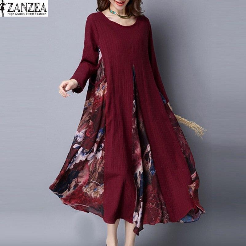 Women Autumn Long Sleeve Floral Long Dress Oversized Kaftan Shirt Dress M-5XL