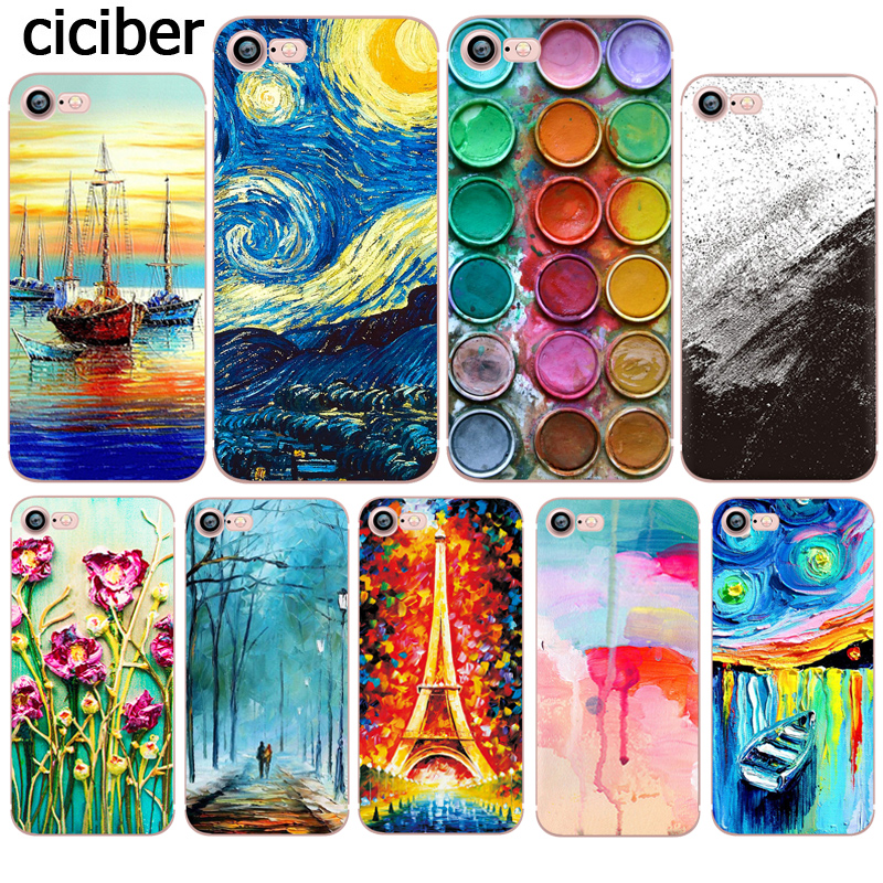 Phone Case Van Gogh Oil Painting Ink Starry Sky Pattern Cover for iphone X 7 6 6s plus 8plus 5S SE 5 Silicon Soft TPU Clear Capa