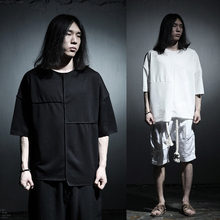 MaleTwo sides can wear shirt punk rock street gothic men asymmetry loose casual long T-shirt