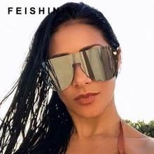 FEISHINI Celebrity Sunglasses Men Brand Design Retro Big Frame Gradient One-piece Lens Fashion Cool Male Sun glasses Shield