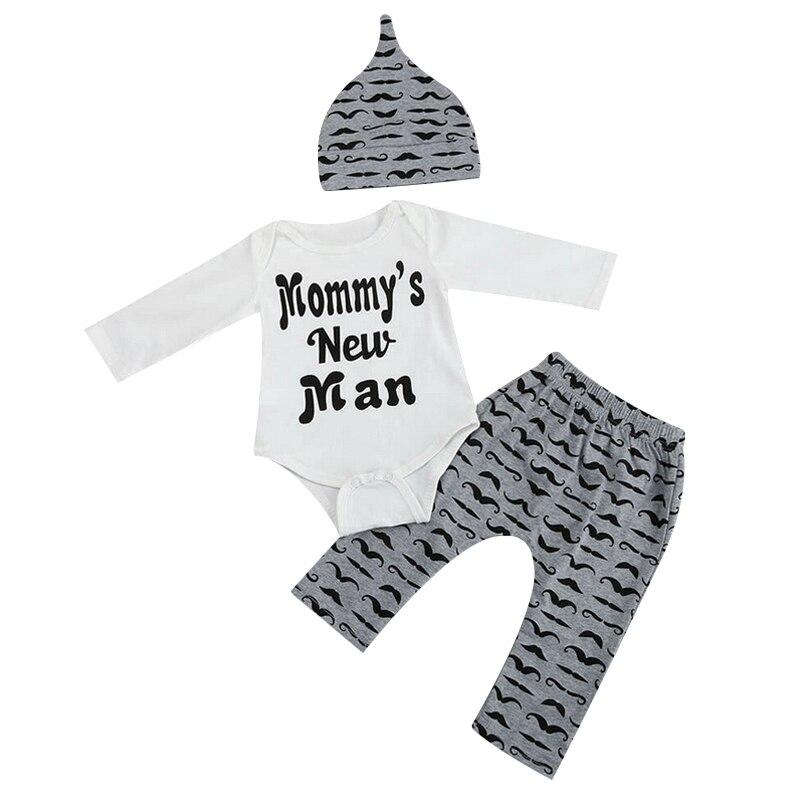 Cute Print Baby Boy Clothes 3PCS/Set Newborn Baby Girls Clothes Set 2017 Fashion Long Sleeve T Shirt +Pant + Hat Babies Clothing