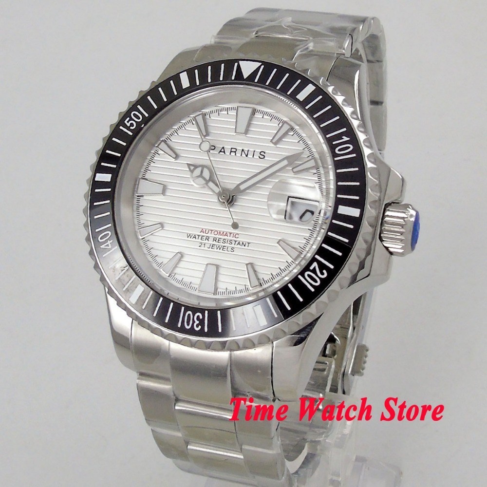Luxury 41mm Parnis watch white dial sapphire glass luminous date magnifier ceramic bezel MIYOTA Automatic wristwatch men 1060
