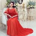 Rojo Chal de Encaje Media Manga Con Cuentas Sirena Vestidos de Noche Largo Robe De Soirée Dubai Formal Partido Prom Vestidos de Noche VestidoCS116
