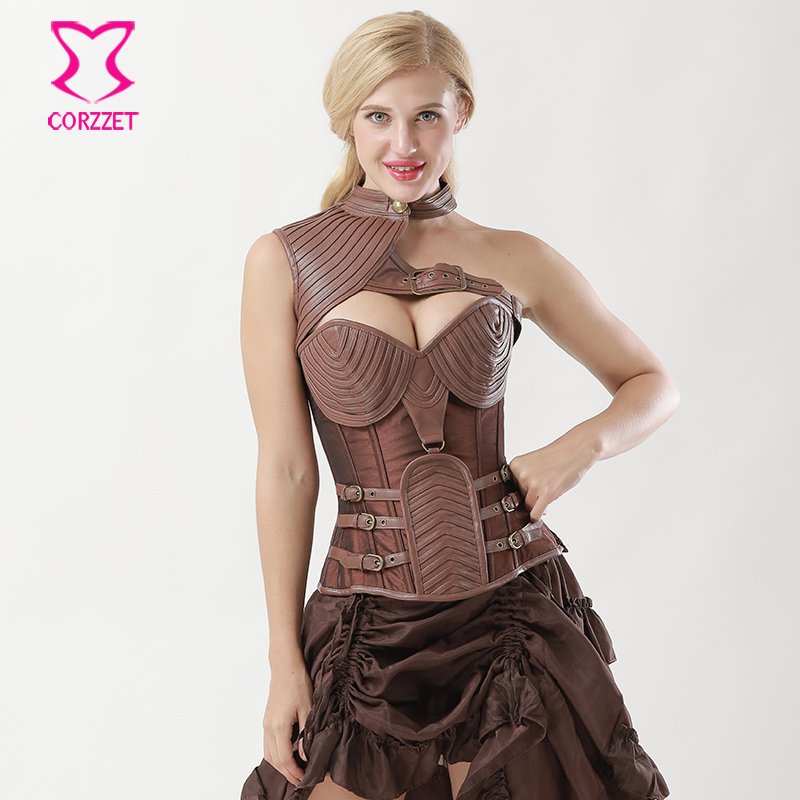 ab39fed1a10 Vintage Brown Leather Armor Corset Steampunk Clothing Korsett For Women  Corselet Plus Size Sexy Corsets And Bustiers Steel Boned-in Bustiers    Corsets from ...