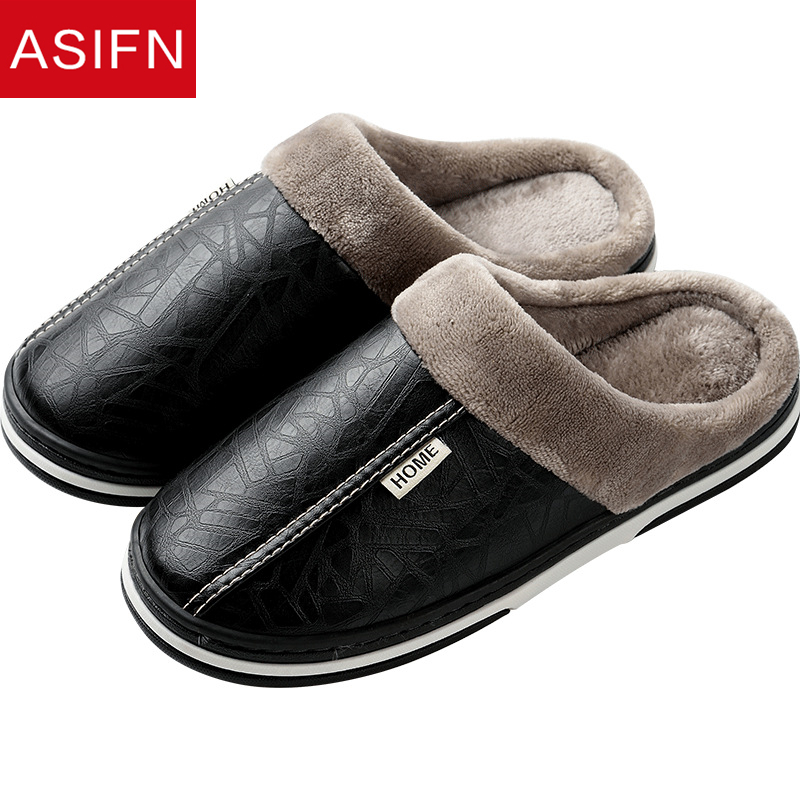 ASIFN Men's Slippers Big Sizes Leather Winter Waterproof Warm Home Fur Slipper Male Couple Platform Indoor Slippers Shoes Fluffy