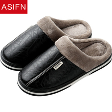 ASIFN font b Men s b font Slippers Big Sizes Leather Winter Waterproof Warm Home Fur