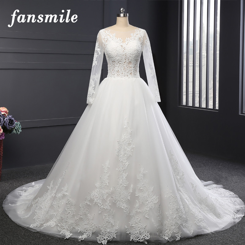 Fansmile Real Photo Long Train Ball Wedding Dresses 2019 Customsized Plus  Size Bridal Wedding Gowns Vestido 166df308ae50