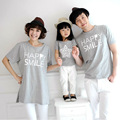 Fashion Family Matching Clothing Cotton Tshirt Matching Mother Daughter Clothes Family Look Father Mother Son Tee Gray HP336
