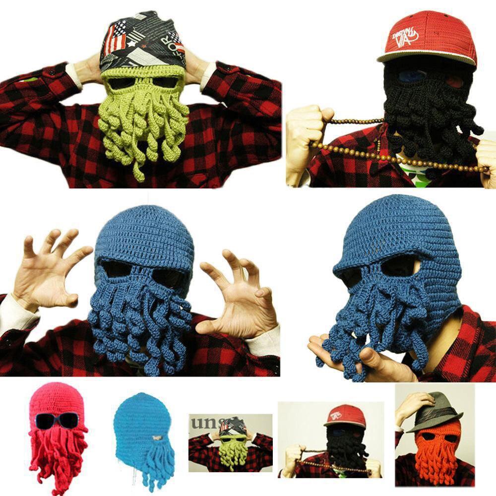 Hat Mask Squid Cap Beani Wool Ski Knitted Beanie Cthulhu Tentacle Beard  handmade crochet octopus hat squid tentacle ski mask wool knit cosplay winter funny costume beanie