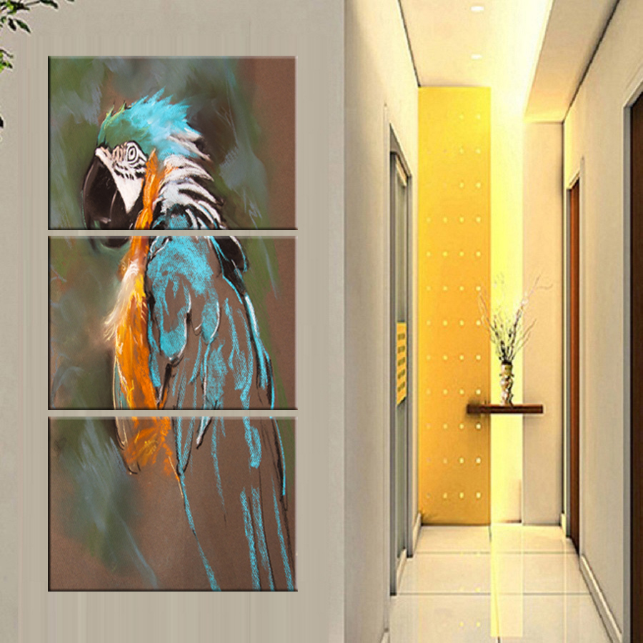 3 pieces HD Print Artistic Paint Parrot Bird Oil Painting on Canvas ...