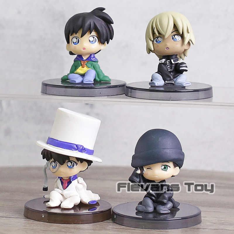 4pcs/set Detective Conan Case Closed Edogawa Konan Conan Edogawa Kaitou  Kidd Furuya Rei Akai Shuuichi PVC Action Figure Toys 5cm