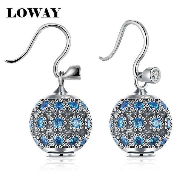 LOWAY High Quality Luxury Super Flash Full Crystal Shamballa Princess Ball 925 Sterling Silver Women Earrings Jewelry ED2994