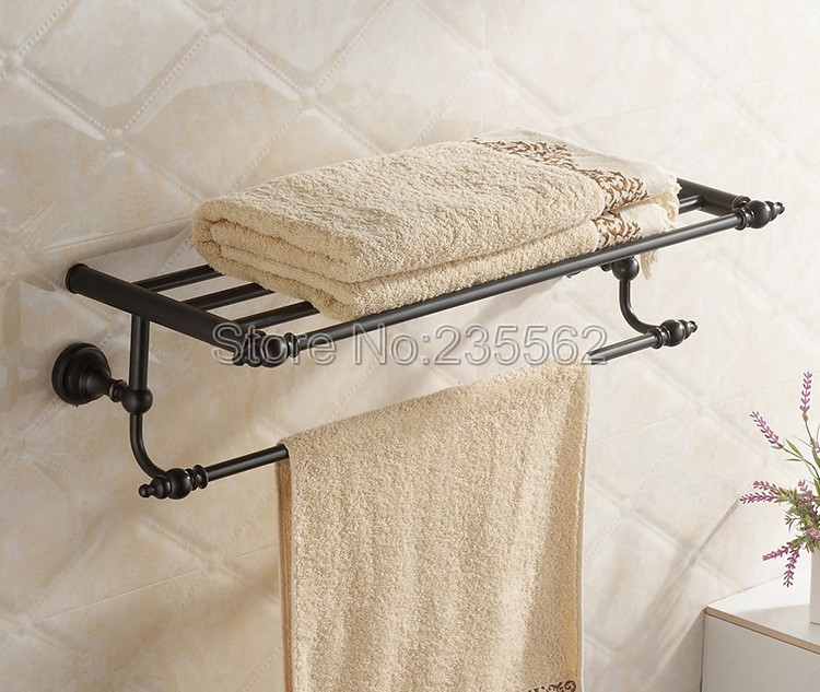 NEW Bathroom Accessory Black Oil Antique Brass Wall Mounted Towel Rail Holder Storage Rack Shelf Bar lba821 bathroom accessory vintage retro antique brass wall mounted bathroom towel rail holder storage rack shelf bar aba430