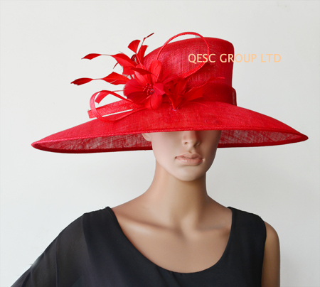 New Red X Large Brim Sinamay Hats Church For Wedding Royal Ascot Kentucky Derby In Fedoras From Women S Clothing Accessories On Aliexpress