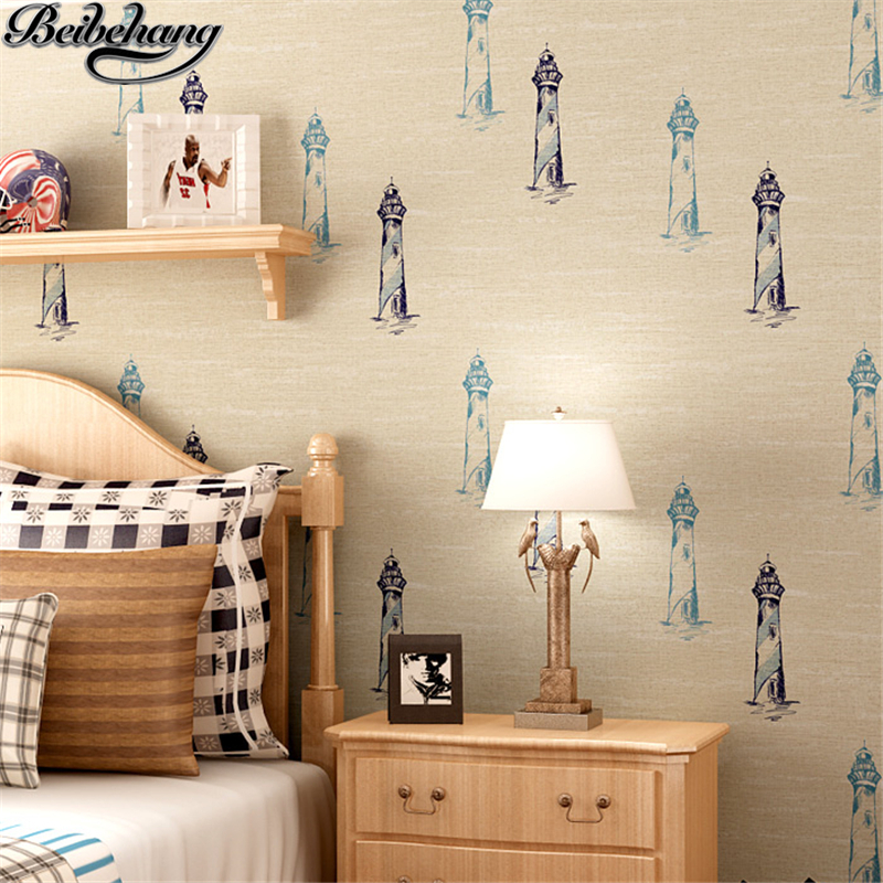 beibehang Cartoon children's room wallpaper boy mediterranean nautical lighthouse non-woven wallpaper wall background wall beibehang new children room wallpaper cartoon non woven striped wallpaper basketball football boy bedroom background wall paper