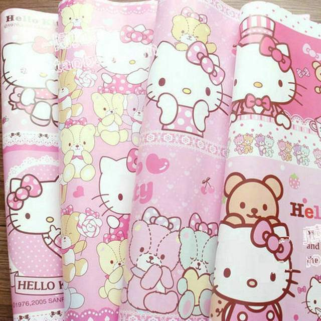 Us 2688 6 Piece Size 74 X 52cm Hellokitty Gift Wrapping Paper Background Wallpaper Dust Jacket Flowers Wrapping Paper Wall Stickers In Gift Bags