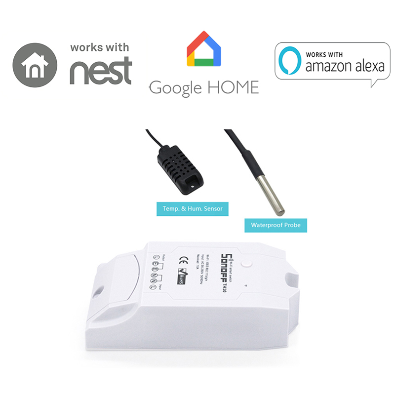 Sonoff TH 16A/10A Temperature Humidity Monitoring WiFi Smart Switch Timing Function with AM2301 DS18B20 Sensor High Accuracy