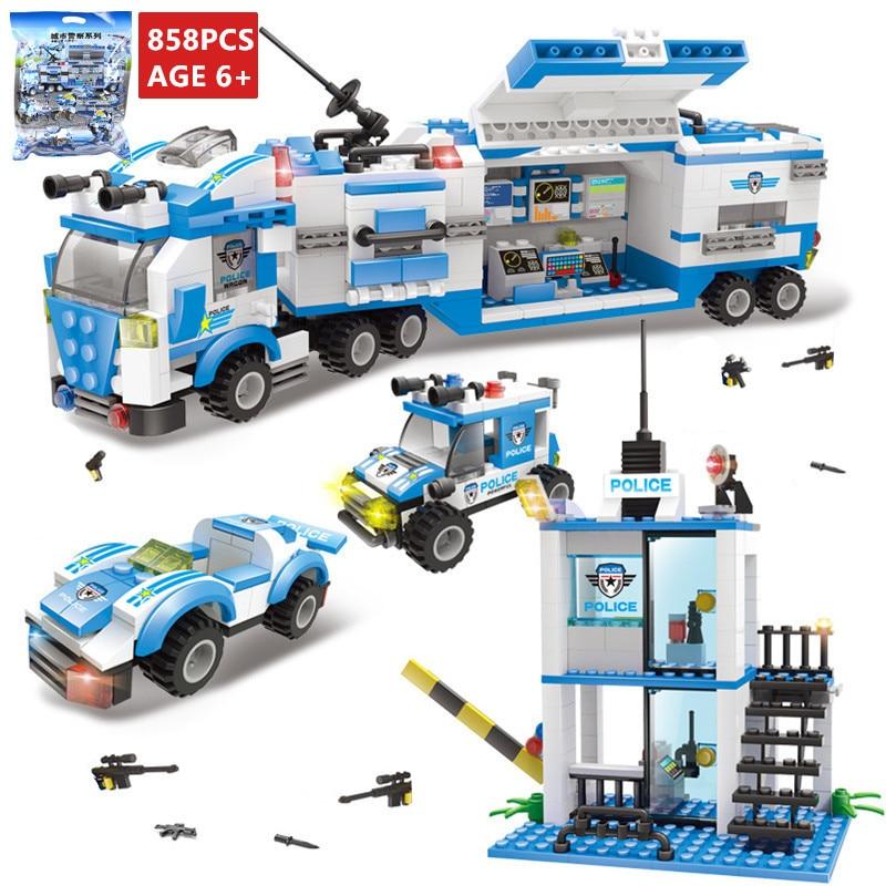 858Pcs Conjuntos de Blocos de Construção Do Carro Caminhão Veículo de Comando da SWAT Da Polícia Da Cidade Playmobil Técnica LegoINGLs Bricks DIY Brinquedos para Crianças