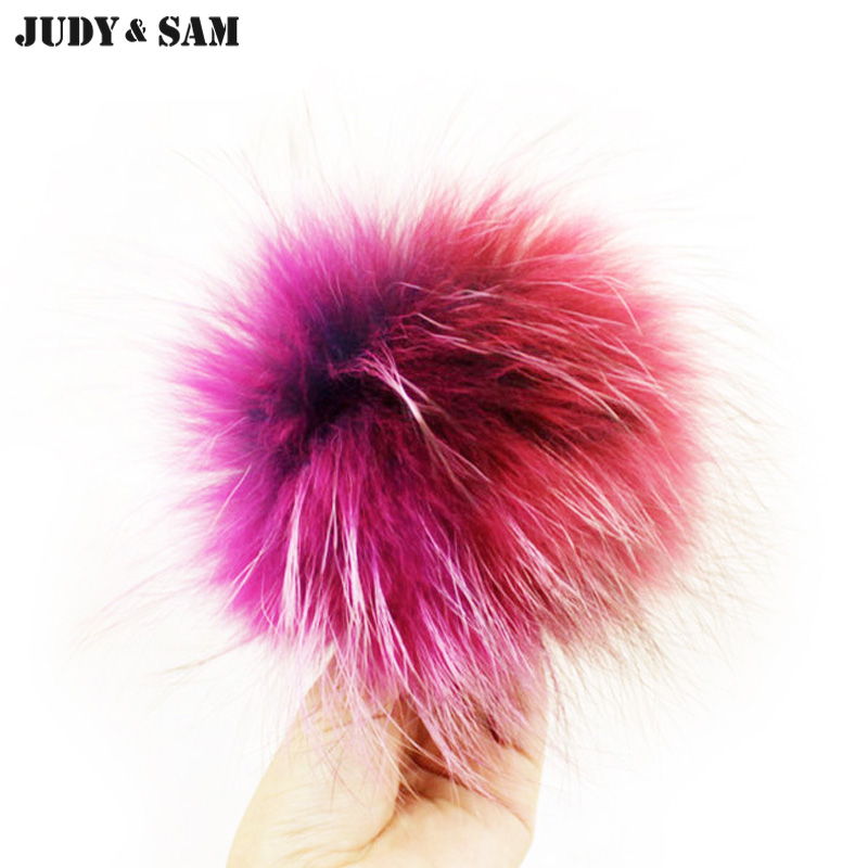 5209ac97383 2016 New Colorful 15CM Real Raccoon Fur Pom Pom Removable Beanie Hat  Accessories Pompon for Shoes