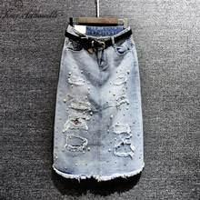 Moda 2018 verano otoño Falda larga de mezclilla mujeres perlas Beading  Casual Jeans faldas Vintage espalda Split A-line faldas S.. 4afea711a173