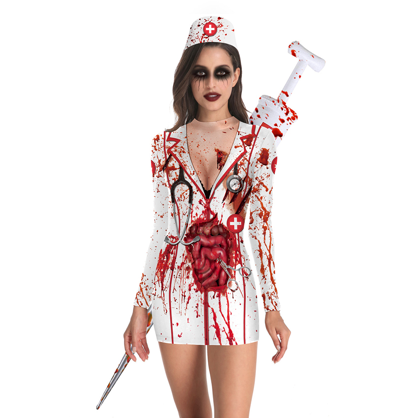 Bloody Nurse Role-play Dress for Women <font><b>Halloween</b></font> Scary Horror <font><b>Cosplay</b></font> Costumes <font><b>Sexy</b></font> Mini Dress Gothic Medieval Clothing image