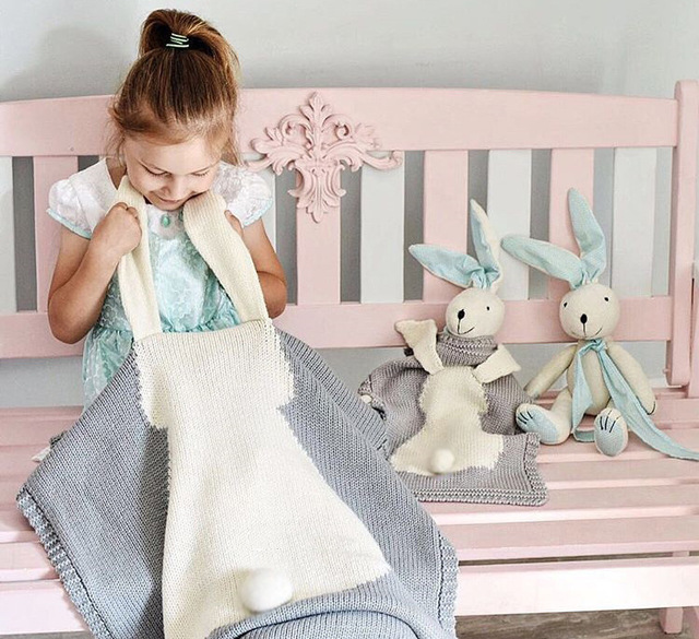 SundayShine High Quality 73x108CM Knitted Bunny Blanket For Baby Knitting Blanket For Kids baby Shower Gifts Bunny Throw Blanket