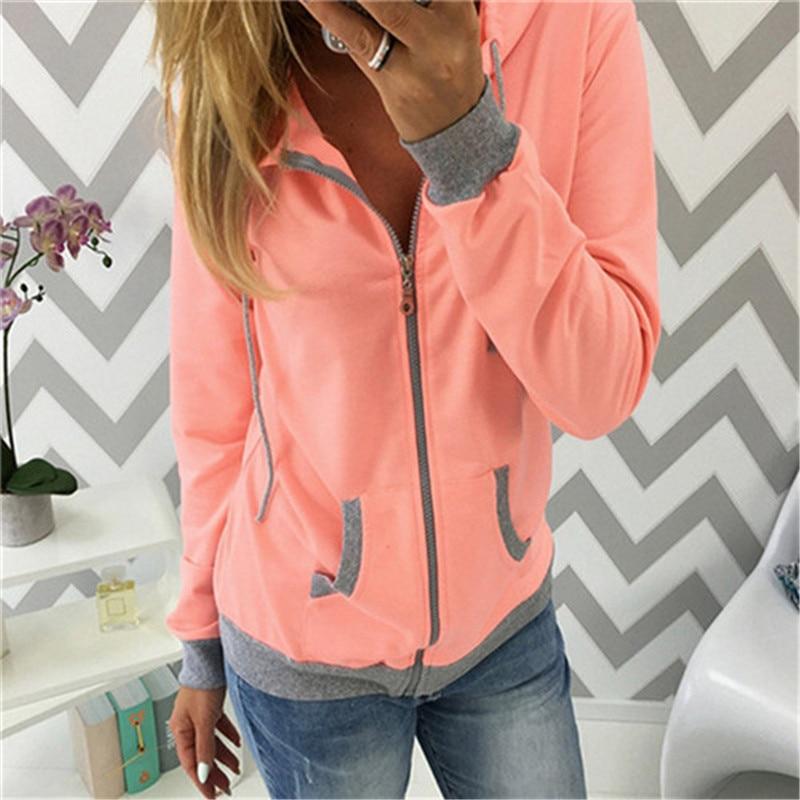 Autumn Women Hoodies Sweatshirts With Zipper Fashion Casual Long Sleeve Pockets Hoodie Women Tracksuit Coat Ladies Tops