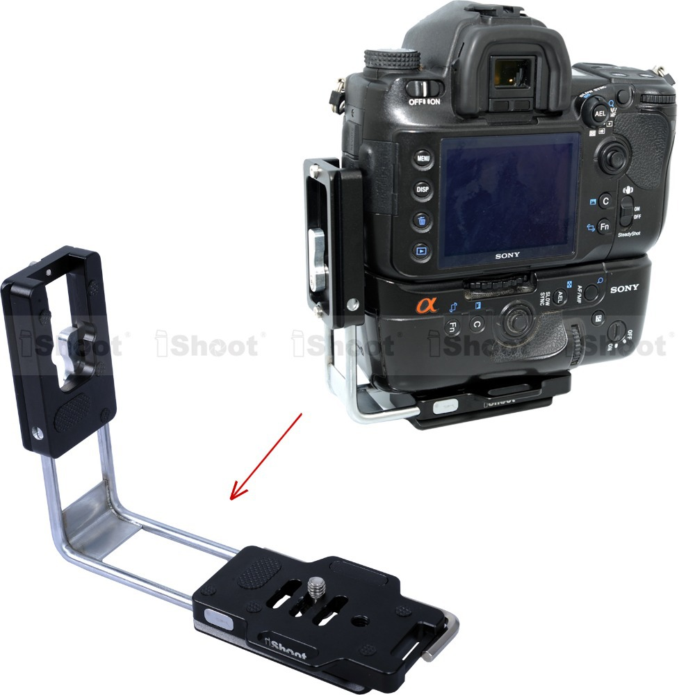 L-Shaped Vertical Quick Release Plate Camera Bracket Holder for Sony a500 a450 a390 a380 a350 Battery Grip Arca Tripod Ballheads