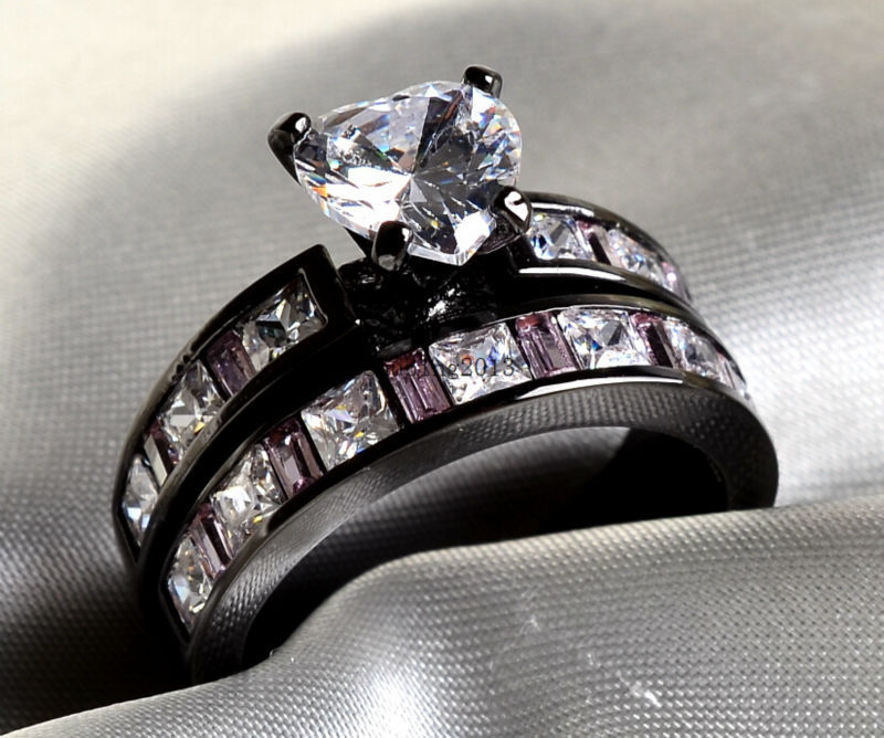 free shipping sz6 9 black gold filled heart cut 1ct aaa zircon cocktail ring pink cz wedding band womens ring bridal sets - Black And Pink Wedding Ring Sets