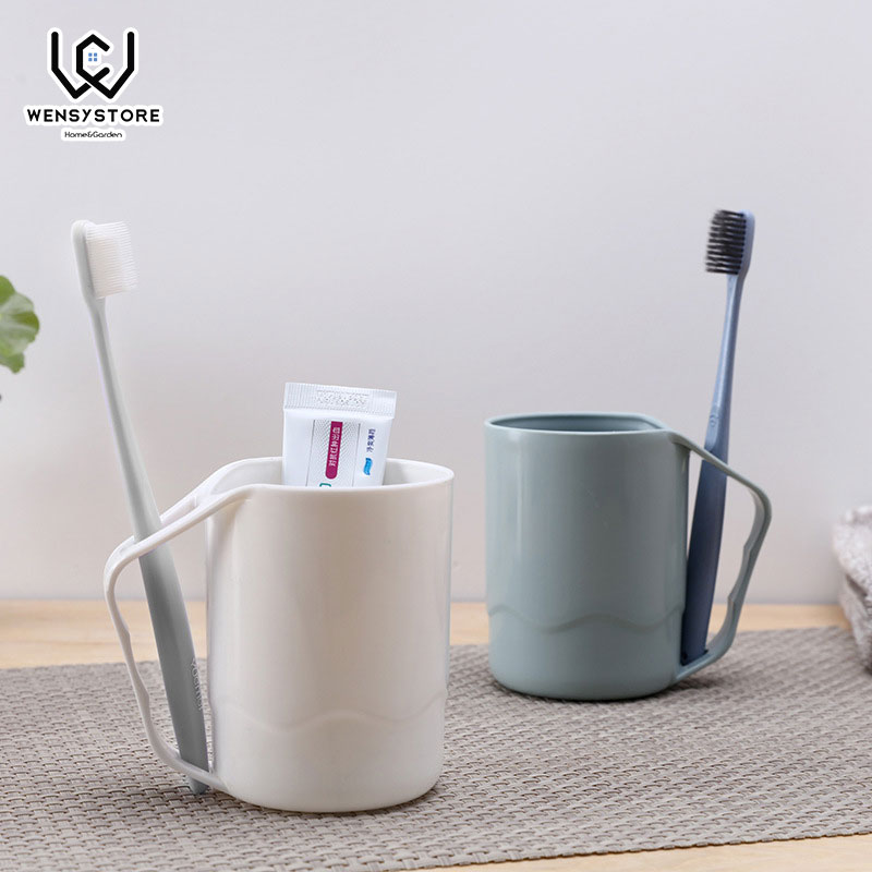 Household Bathroom Simple Couple PP Plastic Tooth Mug Brush Holder Washing Tooth Cup 3 Colors Bathroom Tumblers Xfx50