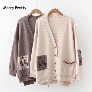 Image 4 - Frohe Ziemlich Mori Mädchen Pullover Frauen Kleidung Herbst Winter Voll Sleeved V ausschnitt Stickerei Vintage Weiblichen Lange Pullover Strickjacken