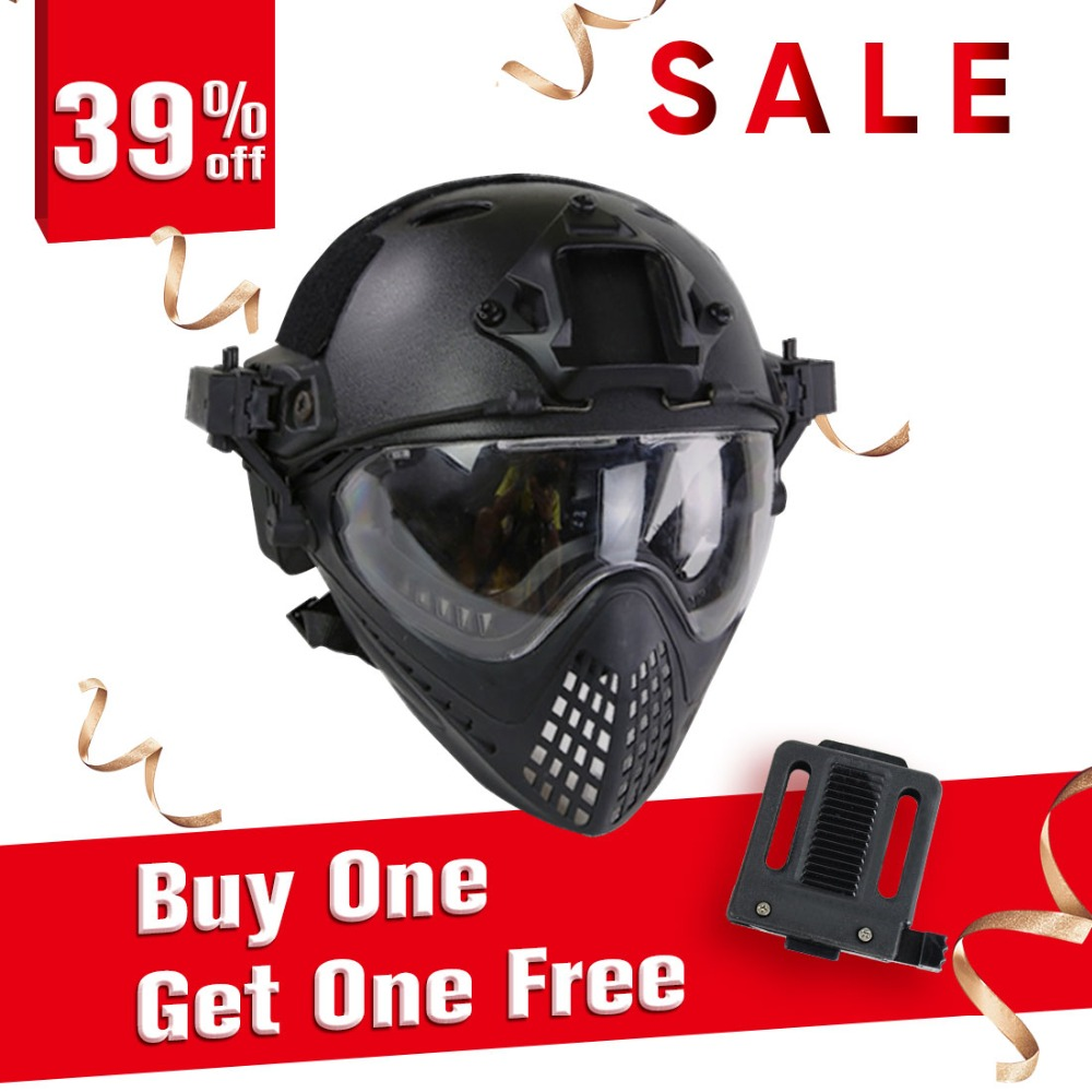 купить Surwish Navigator Tactics Camouflage Protecting Helmet for Outdoors Activities + Helmet Mount Adapter Device Converter - Black по цене 5237.17 рублей