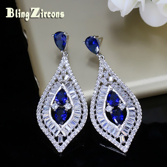 998e4d1f7e7f6 US $9.73 19% OFF BlingZircons Royal Blue CZ Crystal Women Wedding Evening  Sterling Silver 925 Long Hanging Drop Earrings Jewelry For Brides E044-in  ...