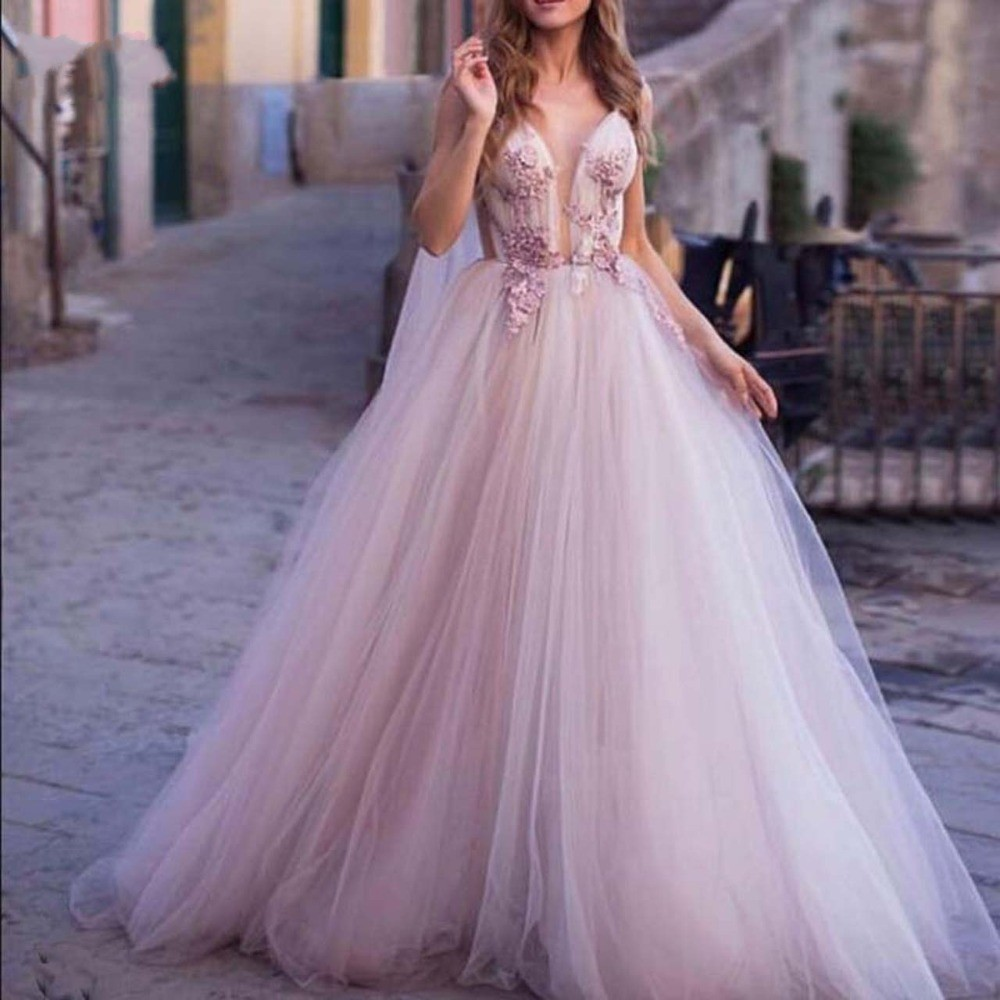 Fashion Evening Gown Blush Pink Formal Dresses Appliques robe de mariee vestido de noiva casamento Long Fairy Evening Gowns-in Dresses from Women's Clothing    1