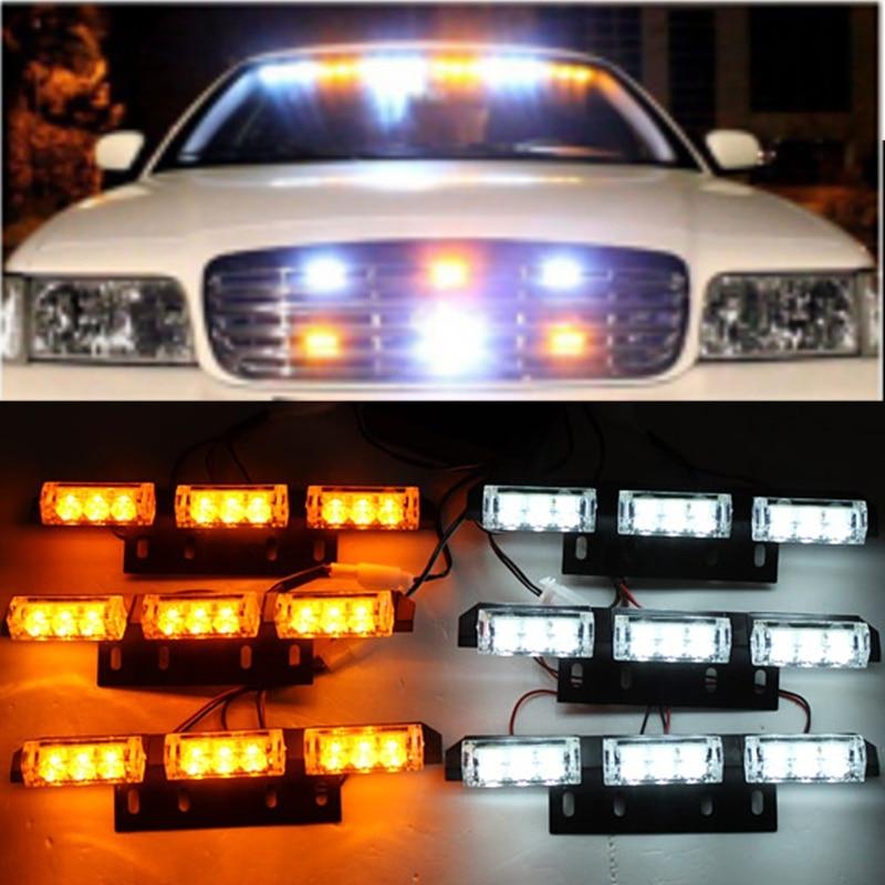 ФОТО Newest White Amber Flash Light  6x9 LED Car Boat Truck Emergency Light 6 Bars Warning Strobe Lights Lamp 12V 30W