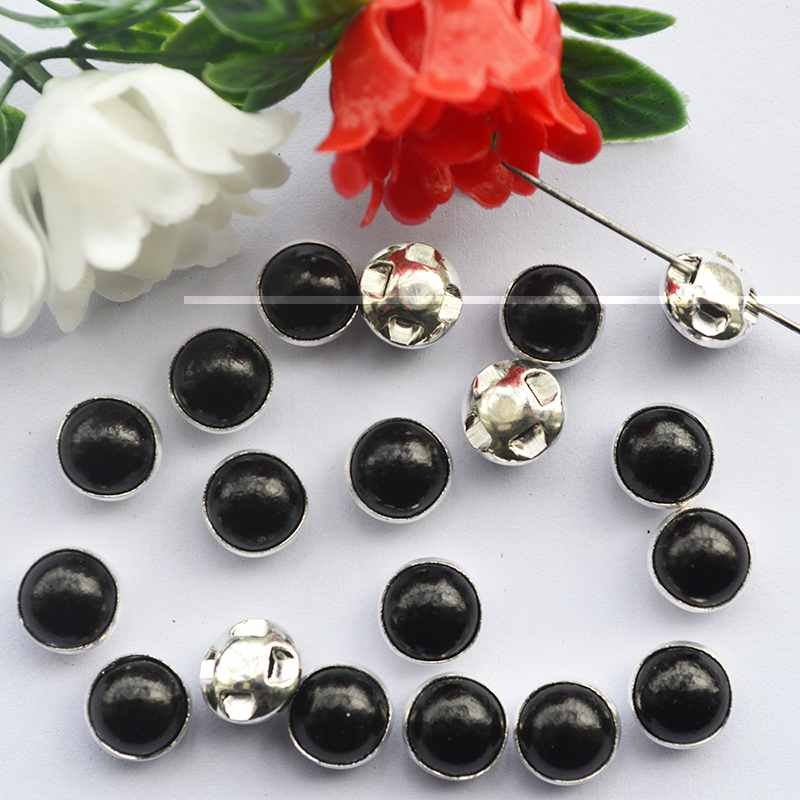 Non Hotfix Rhinestones Buttons Silver Base Sew on Acrylic Crystal Stones  Jet Black DIY Clothing accessories-in Rhinestones from Home   Garden on ... 083519e21f98