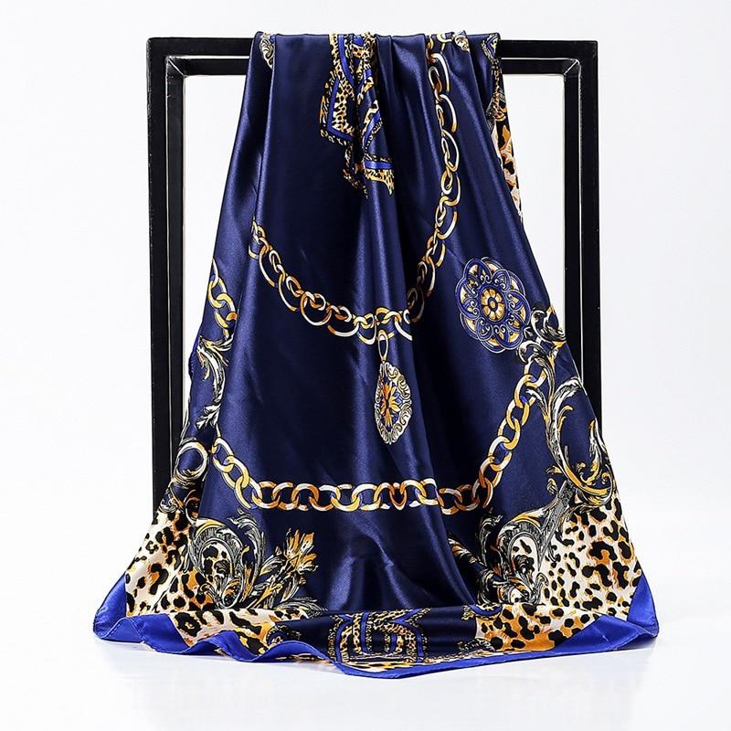 Women Print Headwear Scarf Shawl Wrap Fashion Ladies Square Satin Silk Headscarves 90*90 Cm  Bandana Muslim Head Scarves Shawls