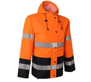 Image 5 - Orange safety rain jacket reflective Polyester Waterproof  rain suit workwear New free shipping