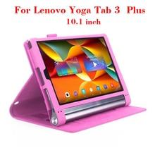 """Yoga tab3 más 10 ultra-delgado del tirón del cuero caso cubierta del soporte de protección caso para lenovo yoga tab 3 plus 10.1 """"+ ranuras para tarjetas de mango"""