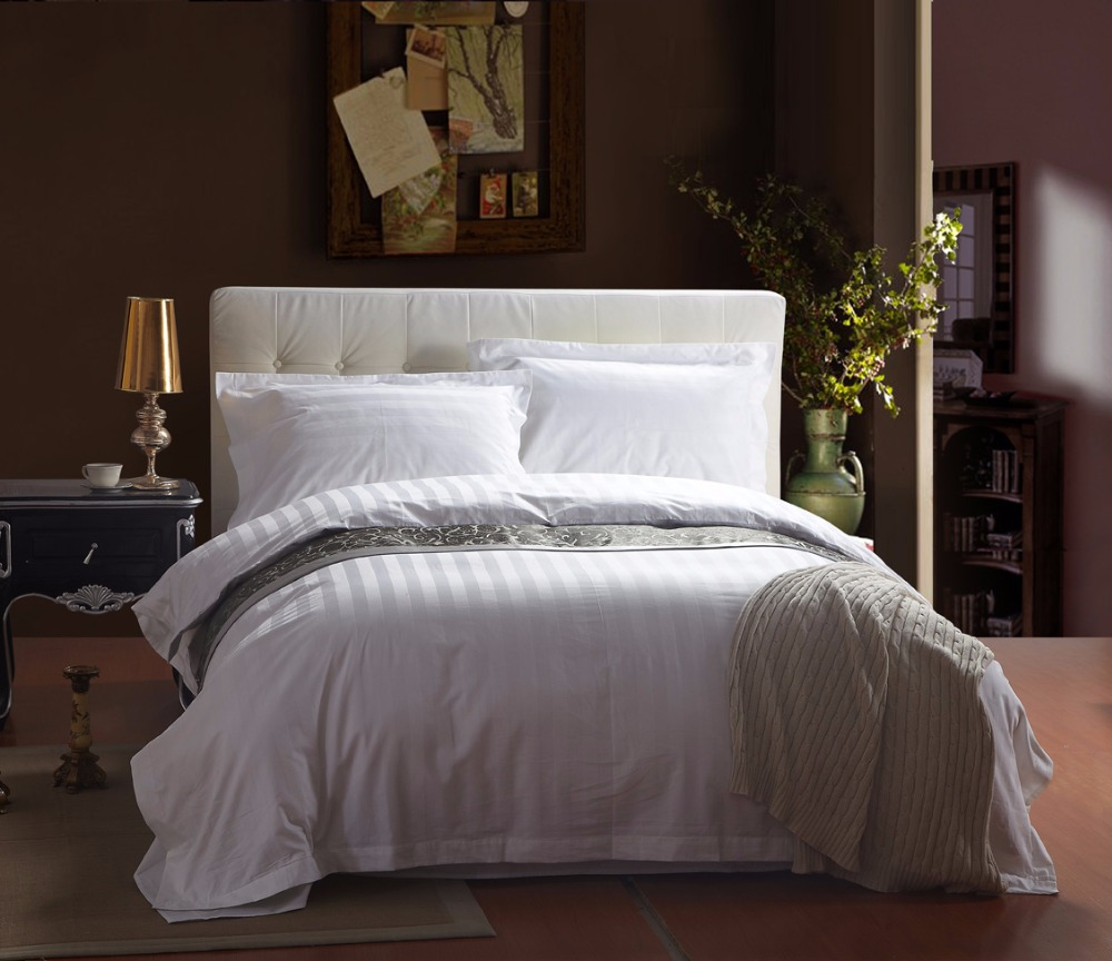 White hotel bedding sets 60s cotton stripe plaid satin silk bedclothes king queen size 4Pc duvet